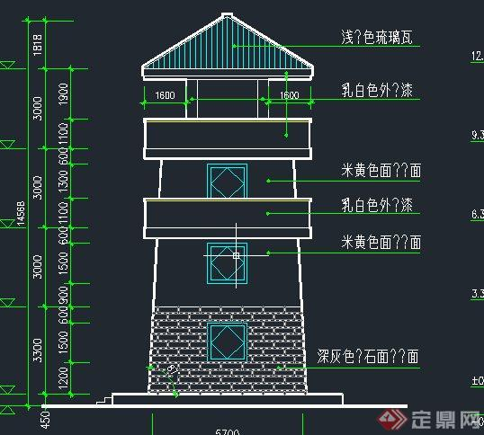园林景观节点瞭望塔建筑设计cad施工图与结构景观塔