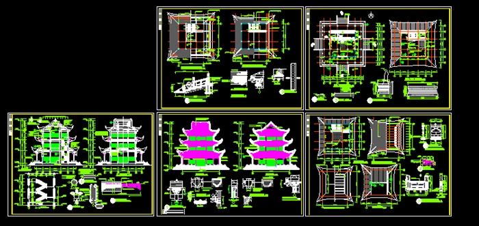 某古典古三层四角塔建筑设计cad施工图[原创]