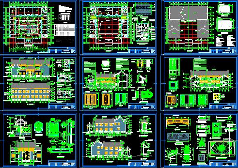 仿古四合院建筑设计施工图 带效果图