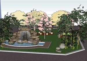 小花园景观设计SU(草图大师)模型(含景石水景雕塑、六角凉亭)
