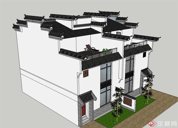 古典中式徽派双拼三层别墅建筑设计su模型
