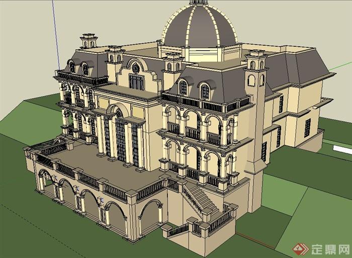 某欧式三层双拼别墅建筑设计su模型(2)