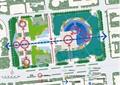 广场景观规划,景观分析图,园路,景观树