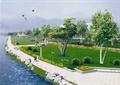 河岸景观,公共绿地,绿地景观,乔木,石头