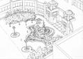 入口景觀,大門,噴泉水池景觀,樹池,景觀樹,門衛塔