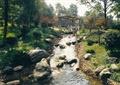 河流景观,卵石水沟,景石,廊架,草坪,景观树