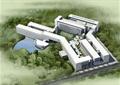 教学楼,教育建筑,水体景观,草坪,景观树