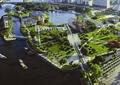 城市规划,道路景观,草坪,景观树,水体景观