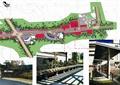 道路景观,景观树,标识景墙,廊架,坐凳