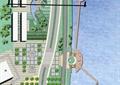 道路,景观树,木栈道,建筑,地面铺装,滨水景观,河流景观