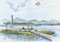 观景平台,观景台,手绘素材,河流生态景观
