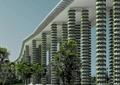 高架桥,柱体,垂直绿化,草坪,景观树,河流景观