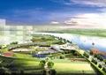 河道景观,木栈道,草坪,景观树,园路,景墙,路灯,滨水景观