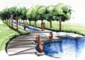 喷泉水景,雕塑小品,水池水景