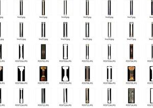 多张地面铺装与柱子素材设计JPG图