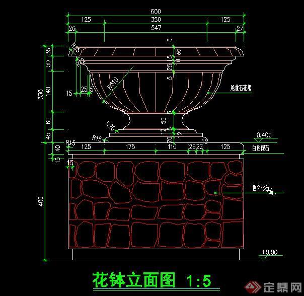 欧式花钵节点设计cad施工图