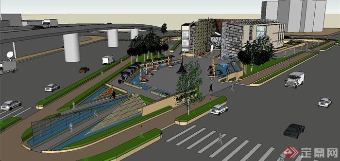 某现代城市广场设计su模型(含建筑)