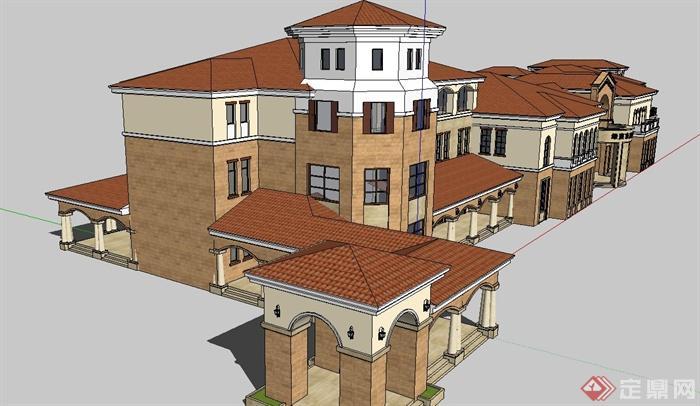 某欧式国际商业会所建筑设计su模型