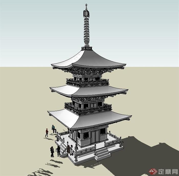 古典中式三层佛塔建筑设计su模型[原创]