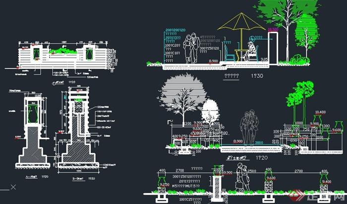 园林景观节点景墙 花钵设计cad立面图