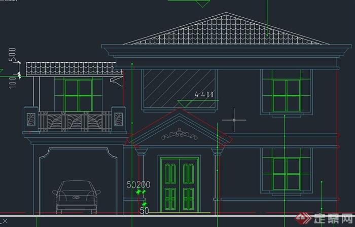 某欧式三层双拼别墅建筑设计CAD施工图