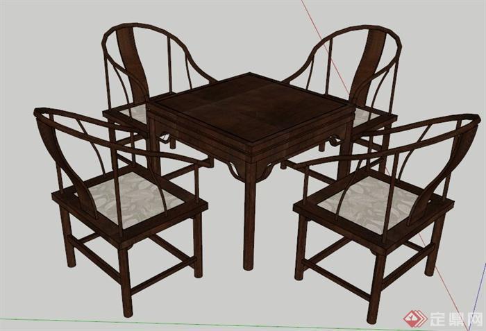 中式木制麻将桌椅su模型