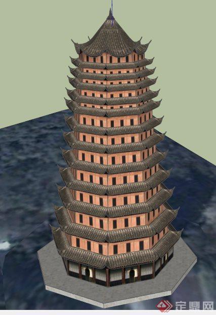 古建玲珑塔景观塔su模型[原创]