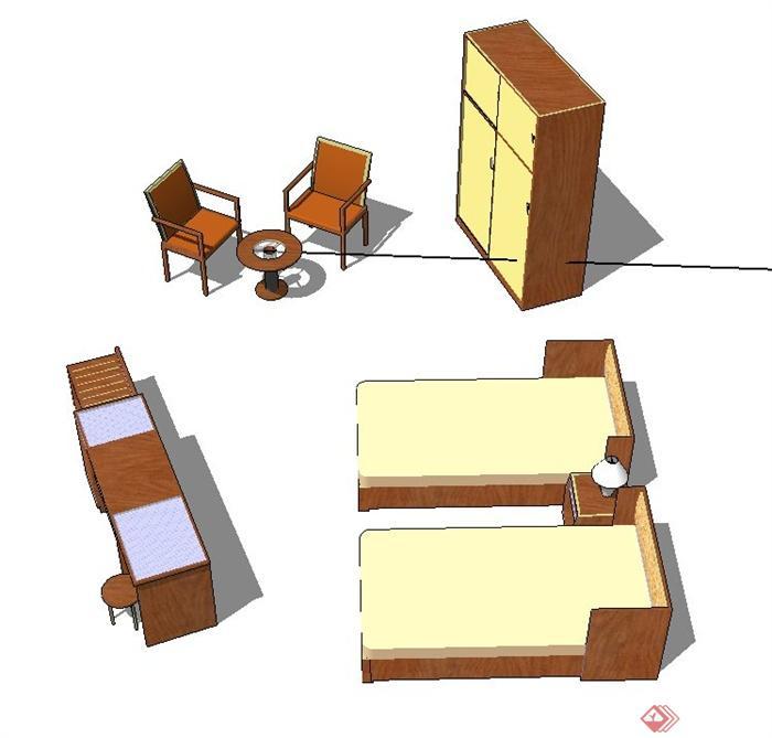 室内单人床,衣柜,桌椅设计su模型