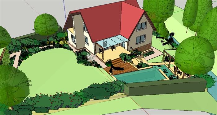 现代风格洋房别墅及庭院设计su模型