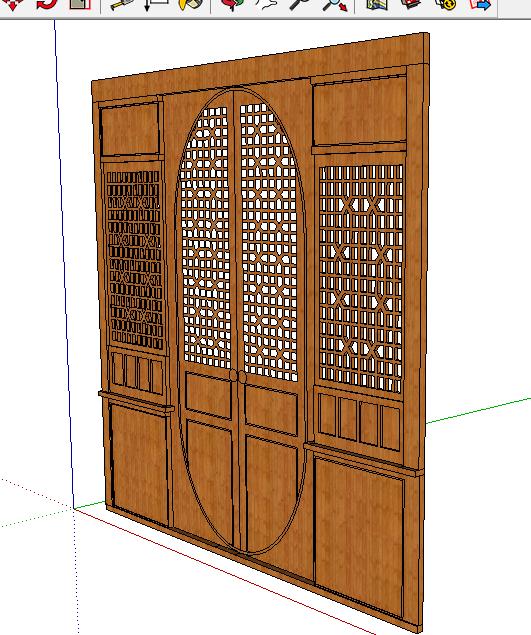 中式木门扇设计su精致模型[原创]