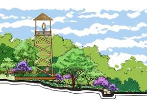 公园景观分层剖面图-方案图园林景观设计方案效果图设计素材教学资图片