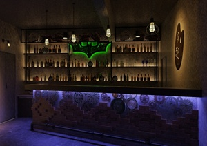 工业风酒吧吧台设计su模型(带效果图)