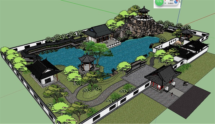 中式古建筑苏州园林景观su模型[原创]