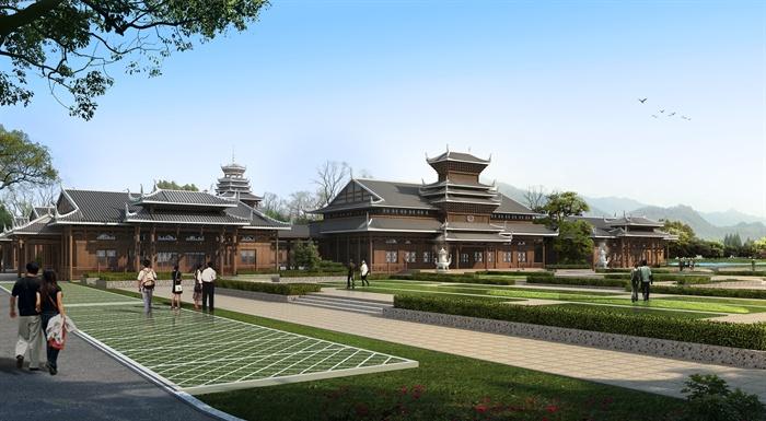 湘西苗族土家族风情中式寺庙古建筑效果图及3d模型