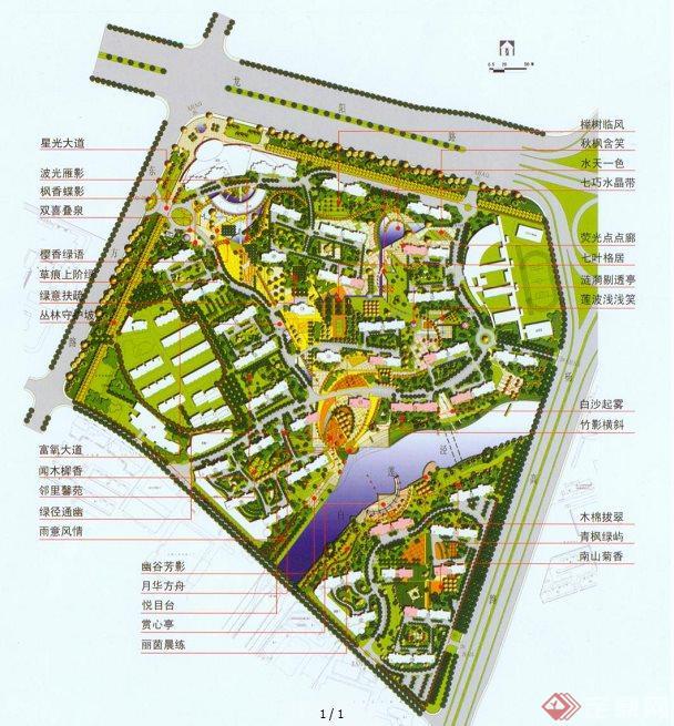 某花园住宅小区规划平面图