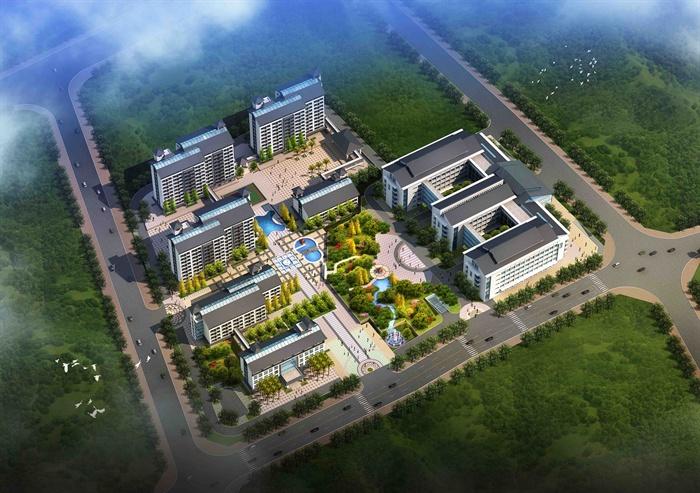 某新中式医院养老院建筑设计3dmax模型(jpg效果图)图片