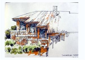 手绘建筑jpg格式方案图(含室内手绘效果图)