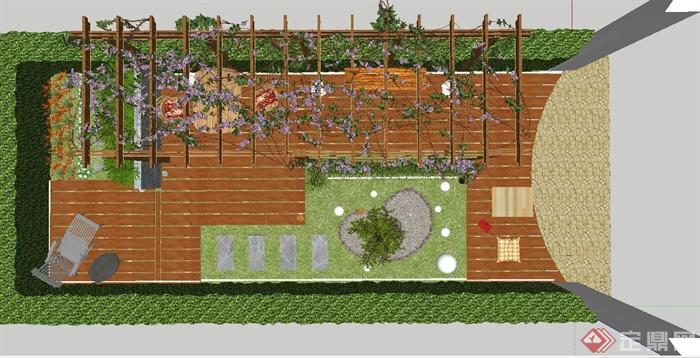 某現代小花園設計su模型(含排版)