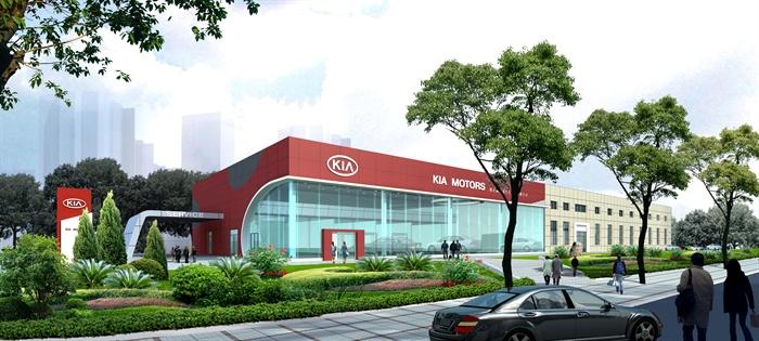 层汽车 4S 店建筑设计3DMAX模型 JPG效果图图片