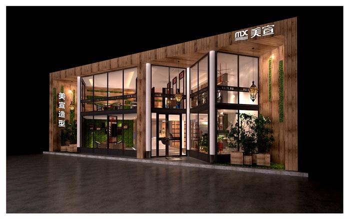 混搭风格两层美发店室内设计(3d