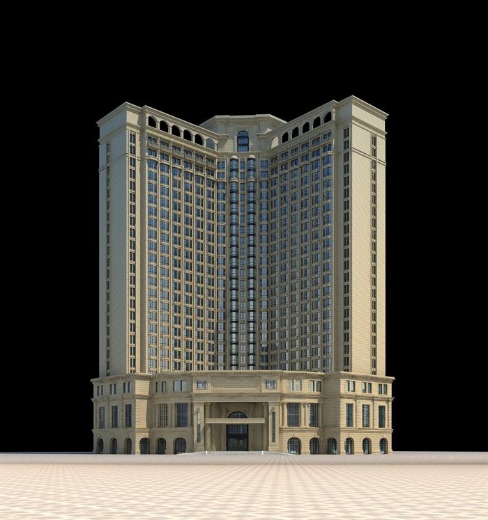 欧式酒店建筑设计3dmax模型[原创]