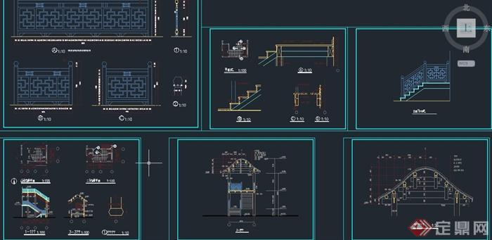 古建筑节点楼梯栏杆设计CAD施工图