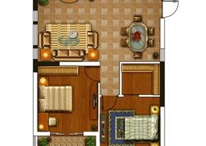 某两居室住宅室内户型图