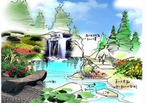 手绘园林景观小景JPG图