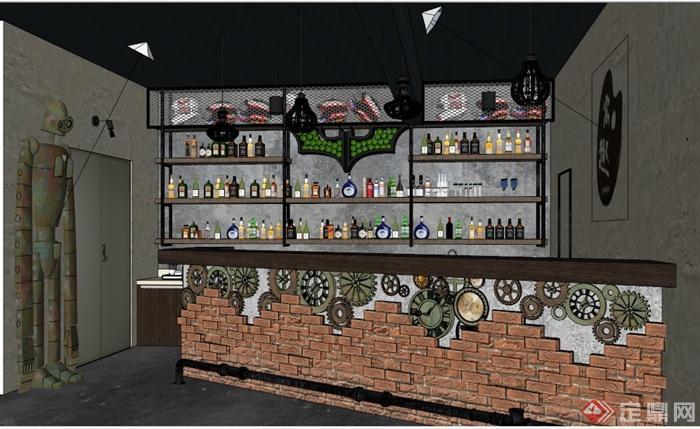 工业风酒吧吧台设计su模型(带效果图)(2)