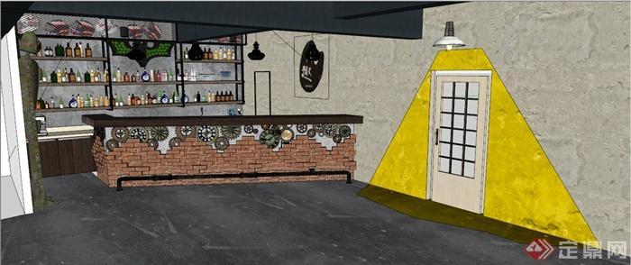 工业风酒吧吧台设计su模型(带效果图)(3)