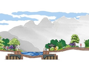 某沿河剖面图景观设计psd格式文本