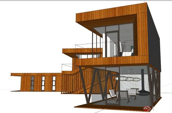 现代木制山地别墅建筑设计su模型