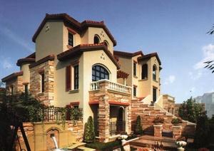 三张西班牙风格别墅建筑效果图