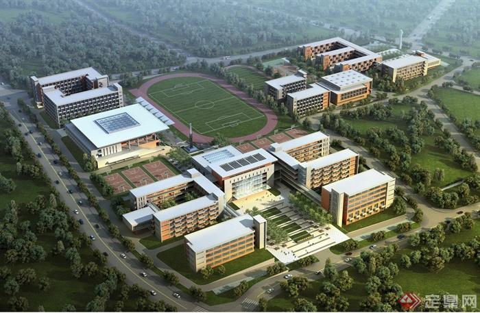 某地9年制学校建筑设计JPG方案图,该图纸内容有学校总平图、鸟瞰图、透视效果图、建筑设计说明、建筑楼层平面图、立面图等,具有一定的参考价值。